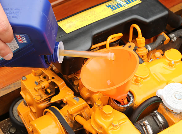 Changing the oil before winterising your engine