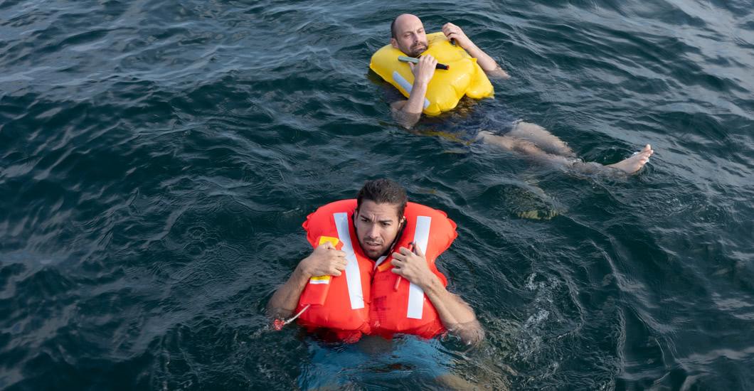 Rettungsweste im Wasser