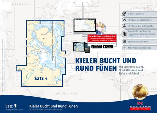 Papierkartensatz 1 - Kieler-Bucht und Rund Fünen
