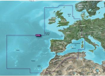 BlueChart G3EU722L : Côte Atlantique de l'Europe, Les Açores, Mer Méditérannée