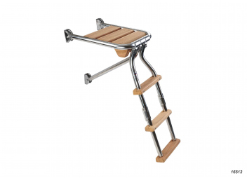 Transom Platform, stainless steel / teak with foldable ladder