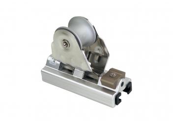 Schlitten mit Block und Stopper für T-Schiene 25 x 4 mm