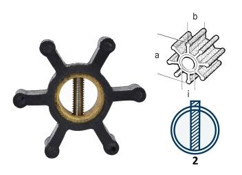 Impeller / neoprene / 6 blades / type 2