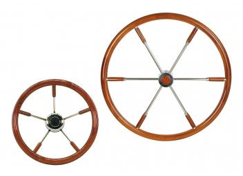 Stainless Steel Steering Wheel with Mahogany Rim / Teak Rim