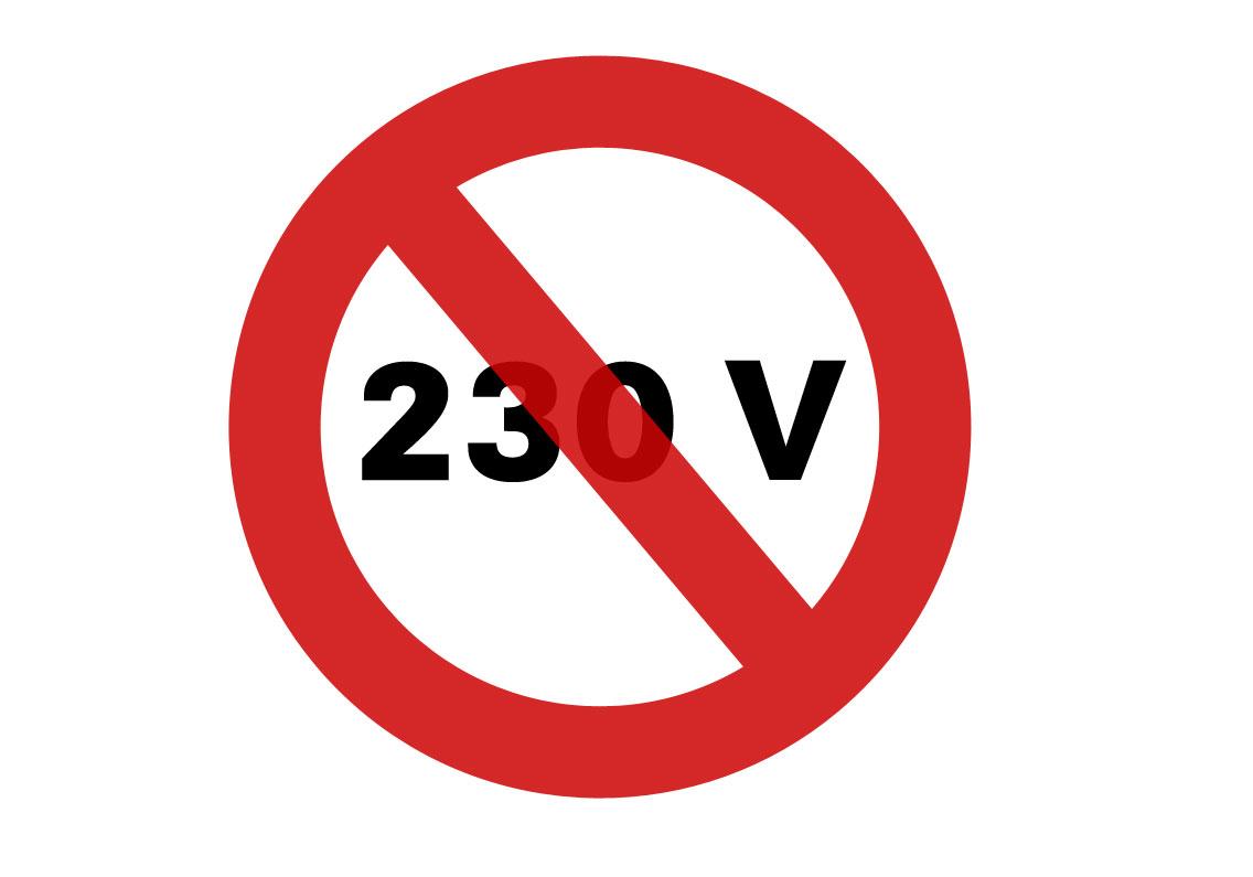 230V warning