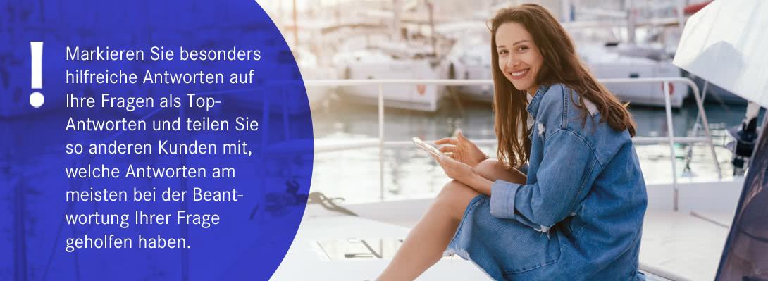 Markieren Sie besonders hilfreiche Antworten auf Ihre Fragen als Top-Antworten und teilen Sie so anderen Kunden mit, welche Antworten am meisten bei der Beantwortung Ihrer Frage geholfen haben.