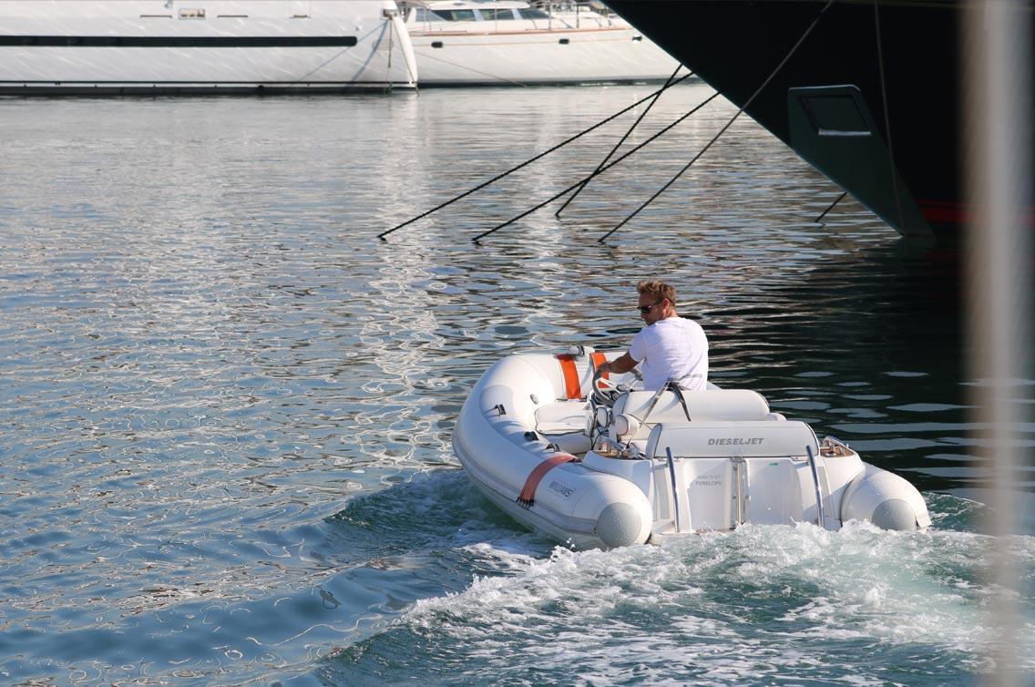 Inflatable boat in port