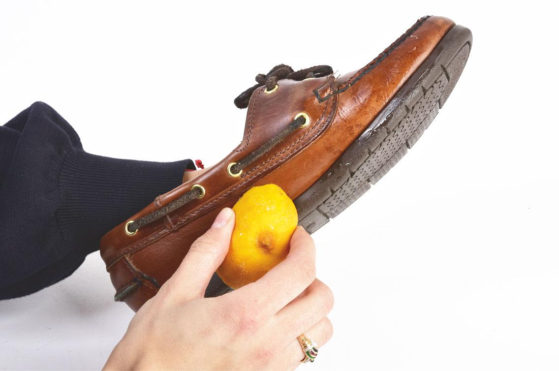 shoe cleaning with lemon