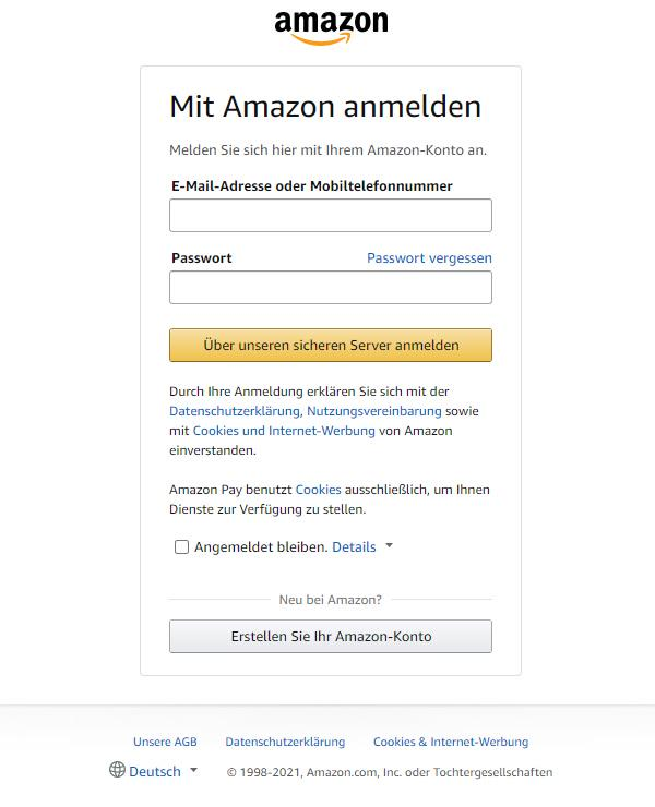 Amazon Payments Zahlfenster