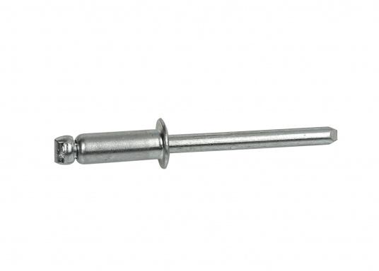 Rivetti disponibili in diverse dimensioni: 3,2 a 4,8 mm. Dotati di un perno in acciaio inossidabile. Nella misura 6,4 mmhanno un perno in acciaio.