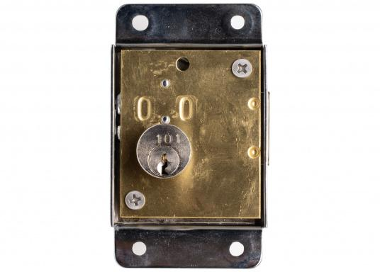 Security lock made out of chrome-plated brass. Supplied with 2 keys, knob, and counterpart. Mountable on the left side or on the right side.