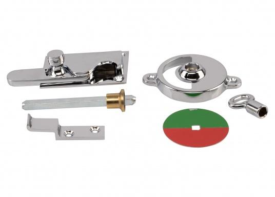 Kleines WC-Schloss mit Verriegelung und Schlüssel für Notöffnung. Material: Messing, verchromt. Abmessungen Basis: 70 x 50 mm. Geeignet für eine maximale Türstärke von 35 mm.  (Bild 5 von 5)