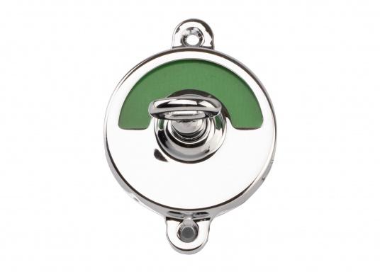 Kleines WC-Schloss mit Verriegelung und Schlüssel für Notöffnung. Material: Messing, verchromt. Abmessungen Basis: 70 x 50 mm. Geeignet für eine maximale Türstärke von 35 mm.  (Bild 3 von 5)
