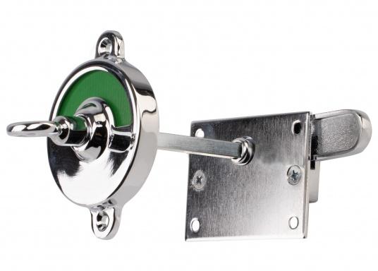 Kleines WC-Schloss mit Verriegelung und Schlüssel für Notöffnung. Material: Messing, verchromt. Abmessungen Basis: 70 x 50 mm. Geeignet für eine maximale Türstärke von 35 mm.