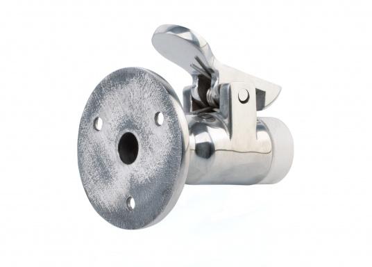 Türfall Haken in Edelstahl-Ausführung. Grundplatte: ca. 50 mm Ø, Abstand ca. 60 mm.  (Bild 3 von 4)