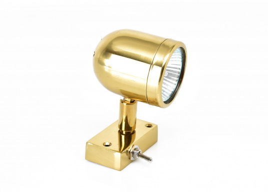 Hochwertiger Kajütstrahler aus massivem Messing, hochglanzpoliert. Mit praktischer Funktion: Der Leuchtkopf lässt sich drehen und schwenken –so ist eine genaue Ausrichtung des Lichtes möglich.  (Bild 3 von 9)