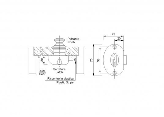 Weißer Kunststoff mit Knopf und Hülse aus Messing, poliert. Geeignet für Türstärken von 15 - 16 mm. Bohrungsdurchmesser: 26 mm.  (Bild 2 von 2)