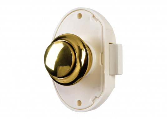 White plastic pressure latch with button and sleeve made out of polished brass. Suitable for door thicknesses from 15 to 16 mm. Bore diameter: 26 mm.