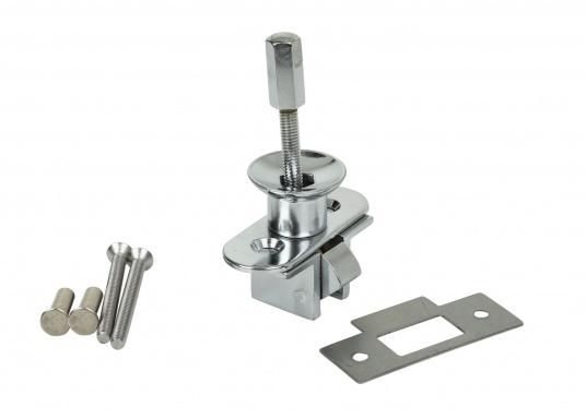 Stabiler Druckschnapper aus verchromtem Messing. Geeignet für Türstärken von 10 bis 25 mm.  (Bild 2 von 3)
