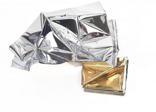 Die im Hochvakuum aluminiumbedampfte Folie reflektiert bis zu 85% der Körperwärme und verhindert so Auskühlung und Unterkühlung, auch als Hitzeschutz verwendbar.
