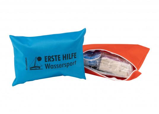 Erste-Hilfe-Set für Hobby und Beruf, bestehend aus einer Reißverschlusstasche aus beschichtetem Nylongewebe mit praxisorientierter Bestückung.