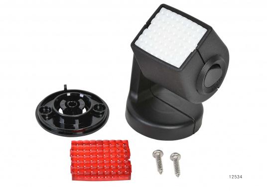Ideal für Kartentische, Kojen und Sitzecken – der Leuchtkopf kann um 340° gedreht und um 330° geschwenkt werden. Für blendfreies Licht kann eine rote Lichtscheibe angebracht werden. (Bild 2 von 5)
