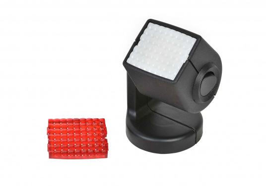 Ideal für Kartentische, Kojen und Sitzecken – der Leuchtkopf kann um 340° gedreht und um 330° geschwenkt werden. Für blendfreies Licht kann eine rote Lichtscheibe angebracht werden.
