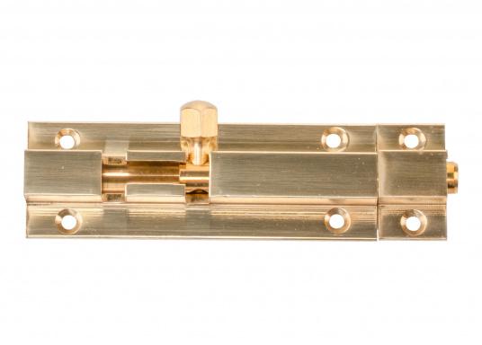 Grendelriegel in Messing,poliert. Abmessungen Grundplatte: 50 x 25 mm, Abmessung Gegenplatte: 15 x 25 mm, Höhe jeweils 9 mm. Erhältlich in verschiedenen Größen.