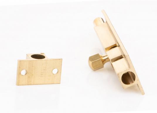 Grendelriegel in Messing,poliert. Abmessungen Grundplatte: 50 x 25 mm, Abmessung Gegenplatte: 15 x 25 mm, Höhe jeweils 9 mm. Erhältlich in verschiedenen Größen.  (Bild 3 von 3)