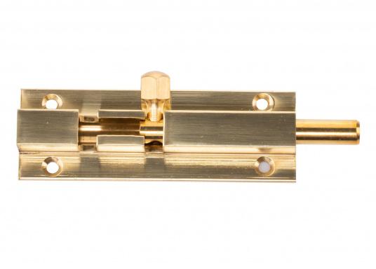 Grendelriegel in Messing,poliert. Abmessungen Grundplatte: 50 x 25 mm, Abmessung Gegenplatte: 15 x 25 mm, Höhe jeweils 9 mm. Erhältlich in verschiedenen Größen.  (Bild 2 von 3)