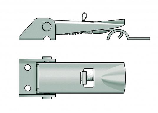 Hebelverschluss aus Edelstahl, rostfrei. Mit Einstellmöglichkeit der Spannung und Bohrung für ein Vorhängeschloss. Durchmesser der Befestigungslöcher ist 5 mm.  (Bild 3 von 3)