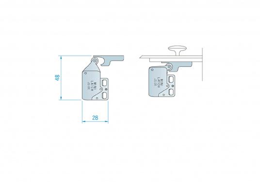 Kleiner Druckschnapper für Türen und Schaps. Mit Gegenplatte. Material: Stahl, vernickelt.  (Bild 3 von 3)