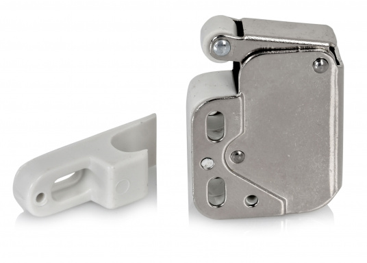 Kleiner Druckschnapper für Türen und Schaps. Mit Gegenplatte. Material: Stahl, vernickelt.