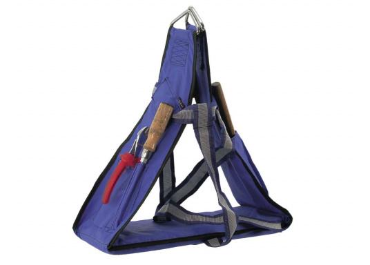 Bootsmannstuhl aus hochwertigen Materialien mit Halteösen und Tasche für Werkzeuge und Reparaturbedarf. Integriertes Sitzbrett für ermüdungsfreies Arbeiten. Völlige Bewegungsfreiheit.  (Bild 6 von 6)