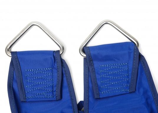 Bootsmannstuhl aus hochwertigen Materialien mit Halteösen und Tasche für Werkzeuge und Reparaturbedarf. Integriertes Sitzbrett für ermüdungsfreies Arbeiten. Völlige Bewegungsfreiheit.  (Bild 5 von 6)