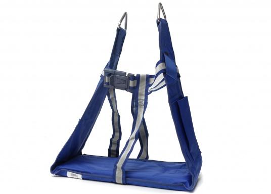 Bootsmannstuhl aus hochwertigen Materialien mit Halteösen und Tasche für Werkzeuge und Reparaturbedarf. Integriertes Sitzbrett für ermüdungsfreies Arbeiten. Völlige Bewegungsfreiheit.