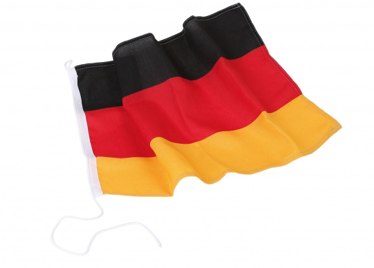 Germany flags made of sturdy, UV-resistant polyester. Can be washed at 95°C. Available in different sizes.  (Imagen 2 de 7)
