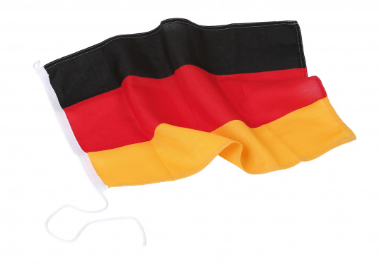 Germany flags made of sturdy, UV-resistant polyester. Can be washed at 95°C. Available in different sizes.