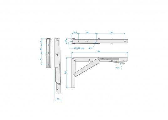 Wenig Platz an Deck? Mit diesem klappbaren Edelstahl-Beschlag für Tisch- oder Arbeitsplatte wird der Raum optimal genutzt. Die Montage ist an glatten Flächen möglich.  (Bild 3 von 4)