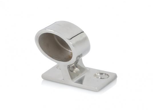 Sehr stabiles Edelstahlendstück in leicht abgeschrägter Form für Rohr-Ø 22 und 25 mm.