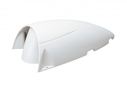 Stromlinienförmiger Dorade-Lüfter. Gehäuse aus Polyamid-Kunststoff, stoßfest und UV-beständig. Der Lüfter kann bequem aus dem Bootsinneren geöffnet werden. Geeignet für Luftzufuhr und Luftabzug.