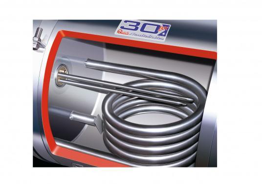 Qualitäts-Warmwasserboiler– sowohl Tank als auch Gehäuse sind aus hochwertigem, rostfreiem Stahl gefertigt und der Boiler ist mit einer starken Schauisolierung versehen. Erhältlich in verschiedenen Volumengrößen.  (Bild 2 von 2)