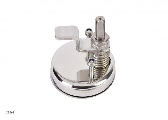 Drehverschluss, gerfertigt aus Edelstahl V4A. Durchmesser: 70 mm. Länge Riegel: 50 mm.Erhältlich in zwei Ausführungen: gerader Riegel / gekröpfter Riegel.  (Bild 6 von 7)