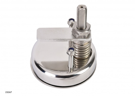 Drehverschluss, gerfertigt aus Edelstahl V4A. Durchmesser: 70 mm. Länge Riegel: 50 mm.Erhältlich in zwei Ausführungen: gerader Riegel / gekröpfter Riegel.  (Bild 5 von 7)