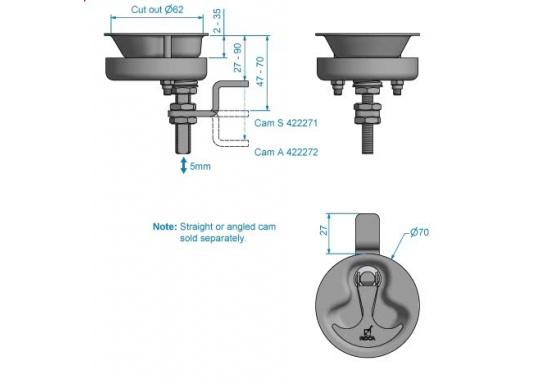 Drehverschluss, gerfertigt aus Edelstahl V4A. Durchmesser: 70 mm. Länge Riegel: 50 mm.Erhältlich in zwei Ausführungen: gerader Riegel / gekröpfter Riegel.  (Bild 7 von 7)