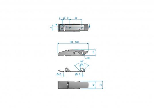 Robuster Hebelverschluss mit Löchern für ein Bügelschloss. Material: Edelstahl A4.  (Bild 3 von 5)