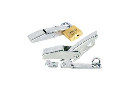 Robuster Hebelverschluss mit Löchern für ein Bügelschloss. Material: Edelstahl A4.  (Bild 2 von 5)