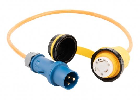 Adapterkabel von CEE- auf NEMA-Norm. Stabile, ölbeständige Ausführung mit Ringverschluss. Belastbarkeit: 16 Ampere.