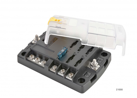 Compact fuse, connection and junction box for6 positions. Position capacity up to 30 A. max. system capacity 100 A. The fuse block also serves as distributor systemfor the ground line.  (Image 2 of 5)
