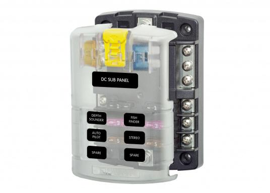 Compact fuse, connection and junction box for6 positions. Position capacity up to 30 A. max. system capacity 100 A. The fuse block also serves as distributor systemfor the ground line.